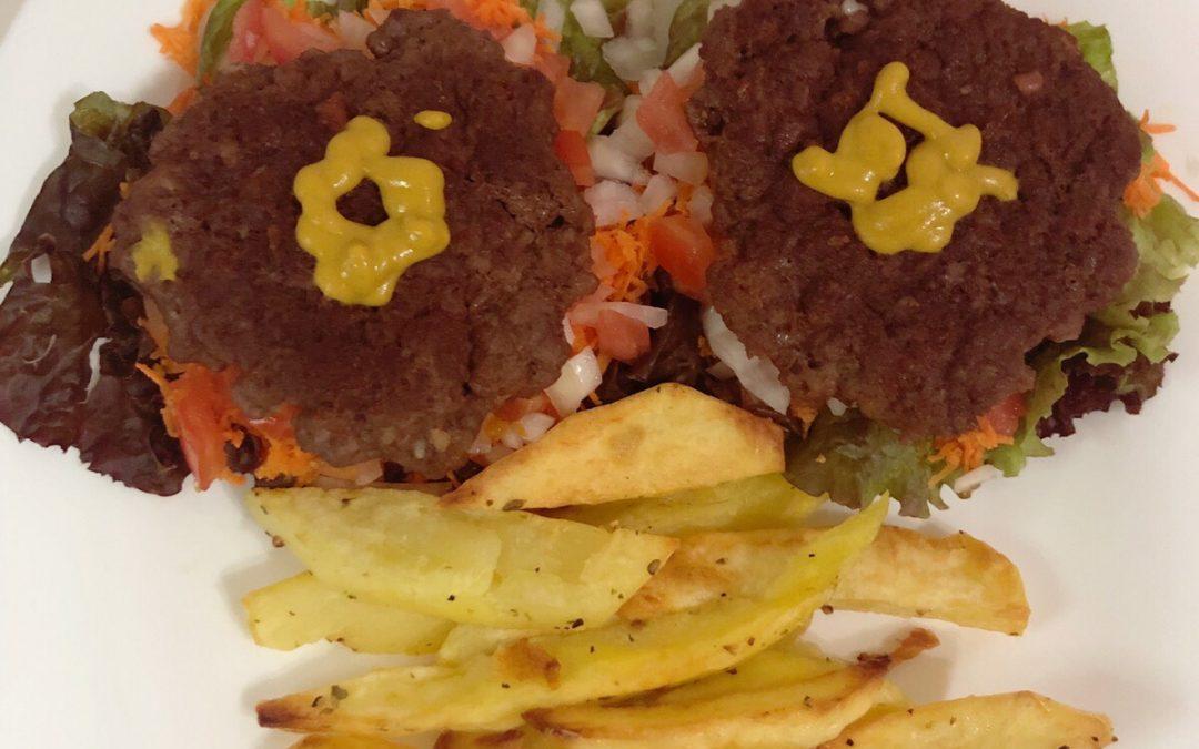 Hamburguesa con papas (saludable)